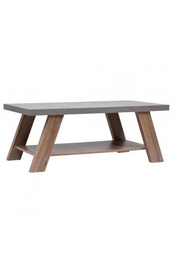 BANJI COFFEE TABLE 120x60x46Ycm CEMENT ΕΠΙΦΑΝΕΙΑ/DARK OAK ΠΟΔΙΑ