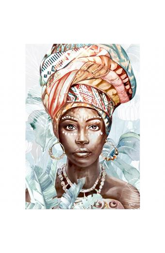 AFRICAN WOMAN PORTAIT LEAVES ΠΙΝΑΚΑΣ 70x3.2x100Ycm OIL PAINTING