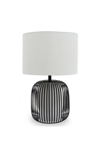 Επιτραπέζιο μεταλλικό φωτιστικό PWL-0030 pakoworld μαύρο με λευκό καπέλο Φ33x51εκ