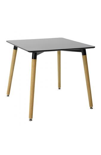 Τραπέζι Natali τετράγωνο MDF χρώμα μαύρο gloss 80x80x76εκ