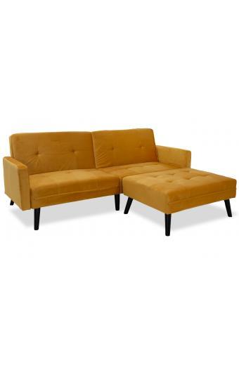Γωνιακός καναπές-κρεβάτι με σκαμπώ Dream pakoworld κίτρινο βελούδο 209x87-195x80εκ