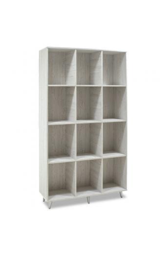 Bιβλιοθήκη FIRENZE pakoworld χρώμα γκρι - λευκό 107x28,6x178εκ