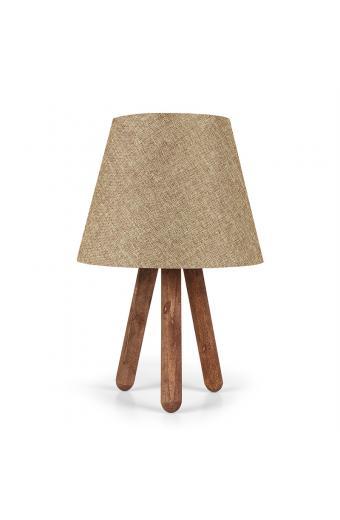 Επιτραπέζιο ξύλινο φωτιστικό PWL-0021 pakoworld με μπεζ pvc καπέλο Φ22x33εκ