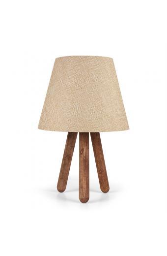 Επιτραπέζιο ξύλινο φωτιστικό PWL-0022 pakoworld με κρέμ pvc καπέλο Φ22x33εκ