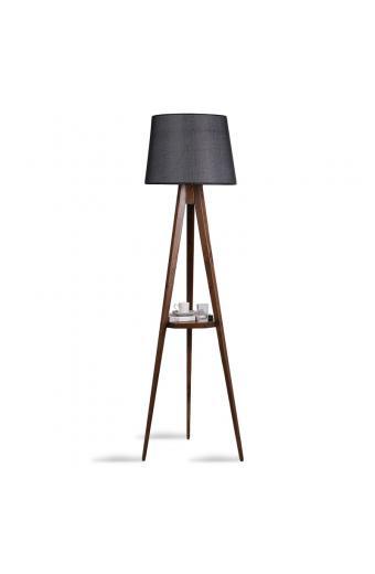Φωτιστικό δαπέδου PWL-0125 pakoworld E27 ξύλο καρυδί - καπέλο μαύρο Φ45x50x160εκ