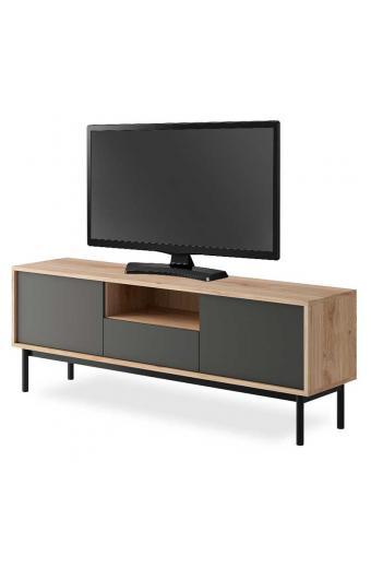 Έπιπλο τηλεόρασης Basic pakoworld χρώμα φυσικό - μαύρο 154x39x57εκ