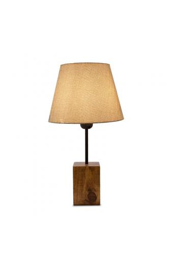 Επιτραπέζιο ξύλινο φωτιστικό PWL-0106 pakoworld με καφέ υφασμάτινο καπέλο Φ14-22x41εκ