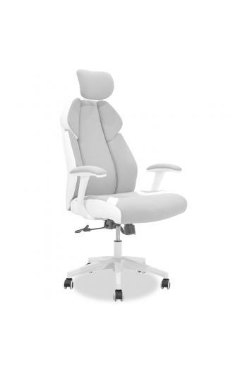 Καρέκλα γραφείου διευθυντή MOMENTUM Bucket pakoworld γκρι υφάσμα Mesh-πλάτη pu λευκό