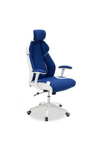 Καρέκλα γραφείου διευθυντή MOMENTUM Bucket pakoworld μπλε υφάσμα Mesh-πλάτη pu λευκό