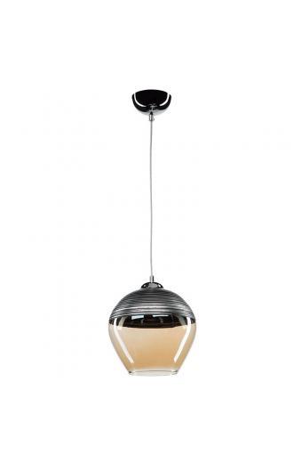 Φωτιστικό οροφής PWL-0955 pakoworld Ε27 μέταλλο ανθρακί-γυαλί μπεζ Φ19x90εκ