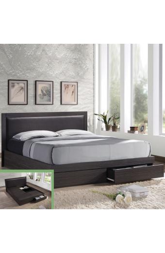 LIFE κρεβάτι διπλό με συρτάρια Zebrano/Κεφαλάρι PVC Σκ.Καφέ