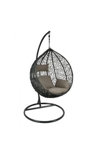 ISABEL Κρεμαστή Πολυθρόνα Σκούρο Γκρι - Μαξιλάρι Καφέ