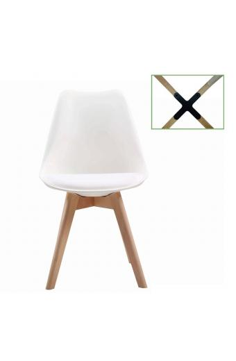 MARTIN Καρέκλα Metal Cross Ξύλο - PP Άσπρο Μονταρισμένη Ταπετσαρία