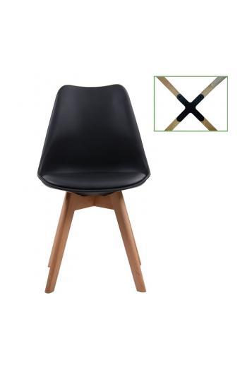 MARTIN Καρέκλα Metal Cross Ξύλο - PP Μαύρο Μονταρισμένη Ταπετσαρία