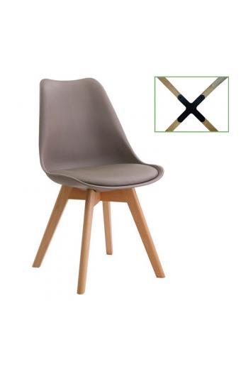 MARTIN Καρέκλα Metal Cross - Ξύλο PP Sand Beige Μονταρισμένη Ταπετσαρία