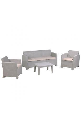SAVANNA Set Σαλόνι K/D PP-UV Sand Grey/Μαξιλάρια Μπεζ