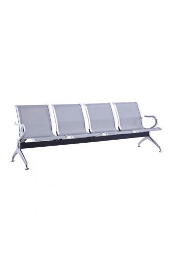 Κάθισμα Αναμονής - Υποδοχής 4 Θέσεων Μέταλλο Χρώμιο Mesh Γκρι