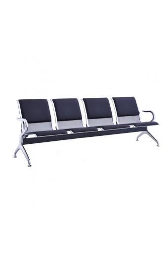 Κάθισμα Αναμονής - Υποδοχής 4 Θέσεων Μέταλλο Χρώμιο Pvc Μαύρο