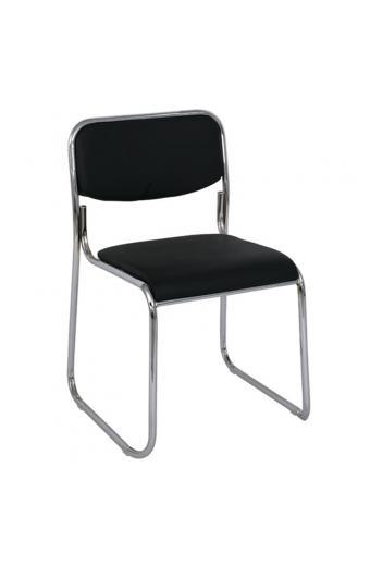 CAMPUS Καρέκλα Επισκέπτη Γραφείου - Στοιβαζόμενη Χρώμιο Μέταλλο - Soft Pu Μαύρο