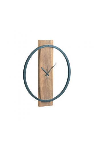 CLOCK-1 ρολόι τοίχου Μεταλ.Μαύρο/Ξύλο Ακακία Φυσικό