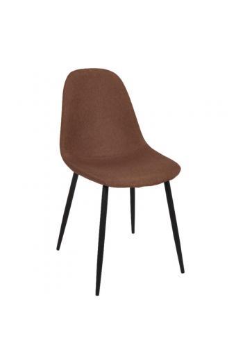 CELINA καρέκλα Μεταλλική Μαύρη/Ύφασμ.Καφέ