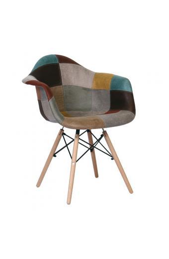 ALEA Wood πολυθρόνα Ξύλο-PP/Ύφ.Patchwork Καφέ