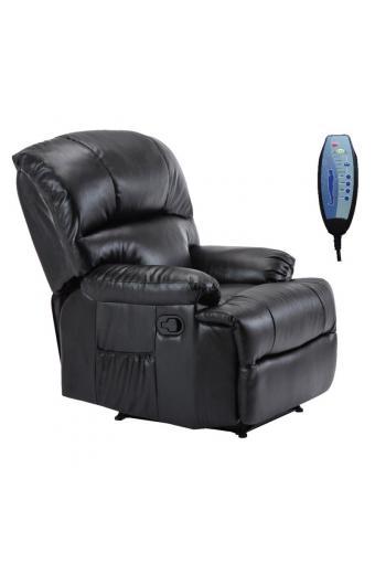 SPACE Πολυθρόνα Massage Σαλονιού - Καθιστικού PU Μαύρο