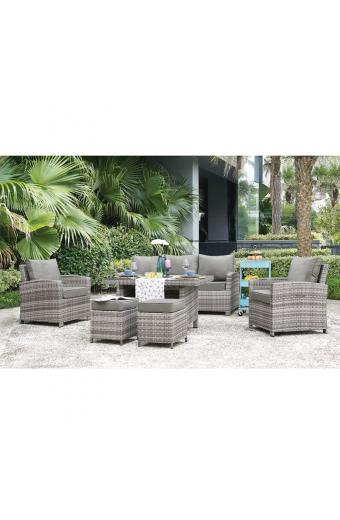 MONROE Set Σαλόνι - Καθιστικό, Τραπεζαρία, Κήπου - Βεράντας Μέταλλο, Wicker Grey White