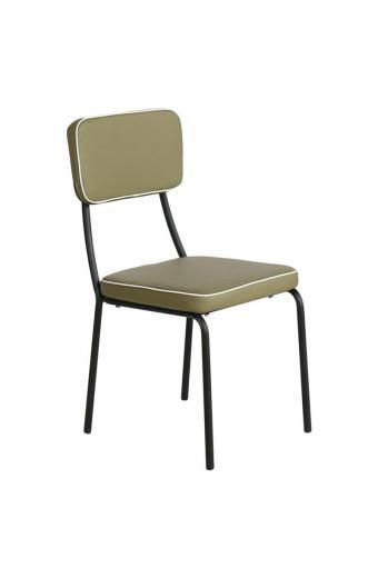 MARLEY Καρέκλα Tραπεζαρίας Μέταλλο Βαφή Μαύρο - Pu Λαδί