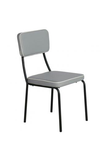 MARLEY Καρέκλα Τραπεζαρίας Μέταλλο Βαφή Μαύρο - Pu Ανοιχτό Γκρι