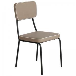 MARLEY Καρέκλα Τραπεζαρίας Μέταλλο Βαφή  Μαύρο - Pu Cappuccino