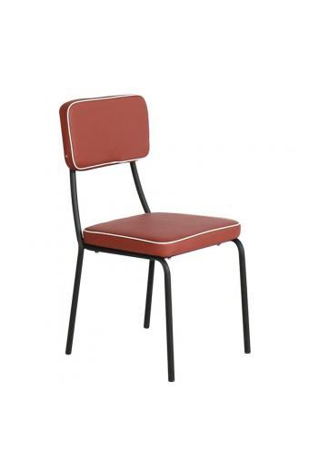 MARLEY Καρέκλα Τραπεζαρίας Μέταλλο Βαφή Μαύρο - Pu Κεραμιδί