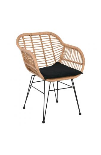 SALSA Πολυθρόνα/Μαύρο μαξιλάρι Μεταλλική Μαύρη/Wicker Φυσικό