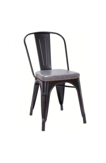 RELIX καρέκλα Μεταλ. Μαύρη Matte/PU Σκ.Γκρι