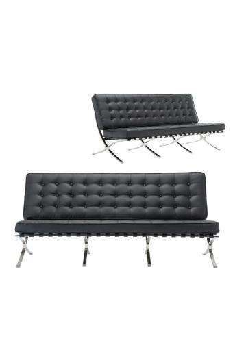 BARCELONA τ. 3-θέσιος καναπές Pu Μαύρο