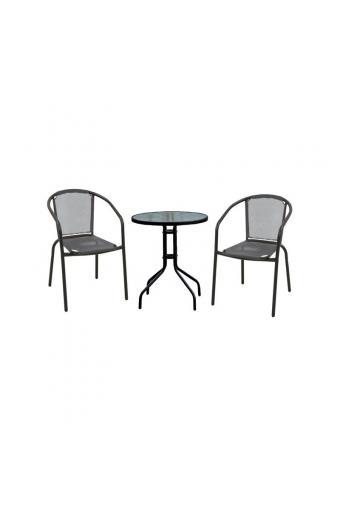 BALENO Set Τραπεζαρία Κήπου : Τραπέζι + 2 Πολυθρόνες Μέταλλο Μαύρο / Textilene Γκρι