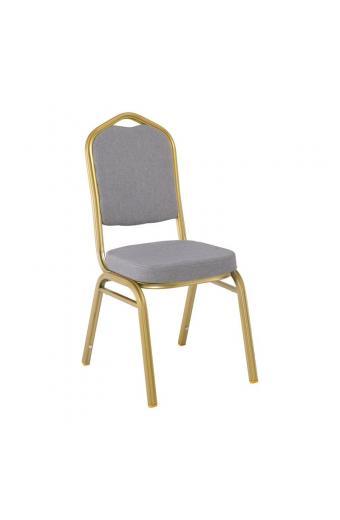 HILTON Καρέκλα Μεταλλική Yellow Gold/Ύφ.Γκρι