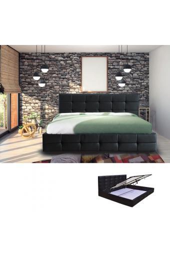 FIDEL Κρεβάτι Διπλό Αποθηκευτικός Χώρος Ξύλο - PU Μαύρο