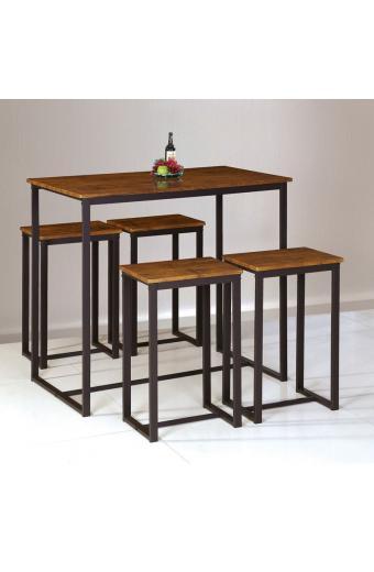 HENRY Set Bar Τραπέζι + 4 Σκαμπώ / Μέταλλο Βαφή Σκούρο Καφέ / Καρυδί
