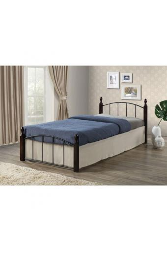 ARAGON κρεβάτι μονό Μέταλλο μαύρο/Ξύλο καρυδί