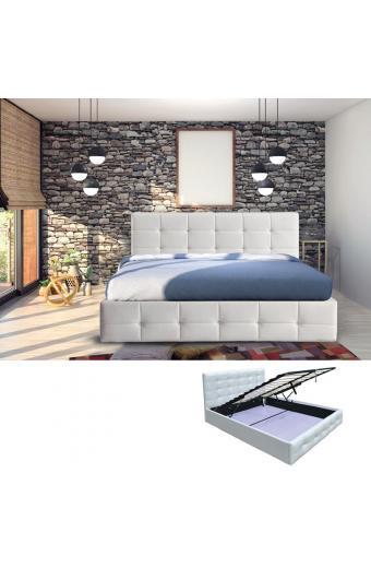 FIDEL Κρεβάτι Διπλό Αποθηκευτικός Χώρος Ξύλο - PU Άσπρο