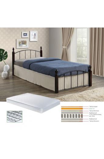 ARAGON Set Κρεβάτι Μονό Μαύρο/ Καρυδί + Στρώμα Contin.Spring