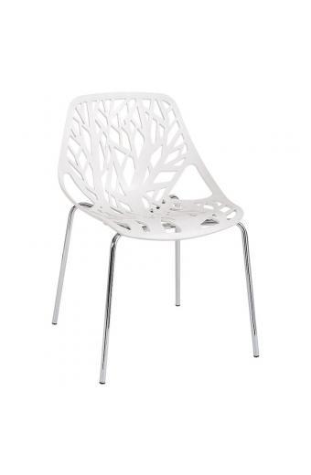 LINEA Καρέκλα Tραπεζαρίας Κουζίνας Μέταλλο Χρώμιο - Πολυπροπυλένιο Άσπρο