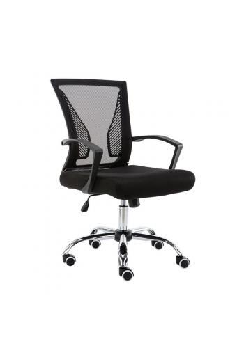 BF2120 Πολυθρόνα Γραφείου Βάση Χρώμιο - Mesh Μαύρο