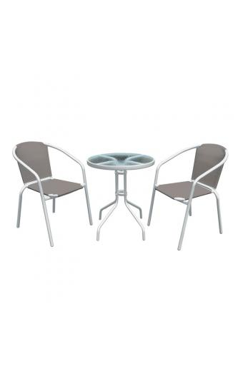 BALENO Set Τραπεζαρία Κήπου : Τραπέζι + 2 Πολυθρόνες Μέταλλο Άσπρο / Textilene Cappuccino