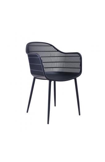 BERRY Πολυθρόνα Μέταλλο Βαφή Μαύρο - PP-UV Μαύρο