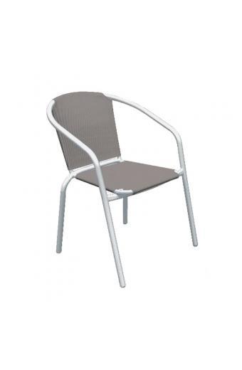 BALENO Πολυθρόνα Μέταλλο Άσπρο/Textilene Cappuccino
