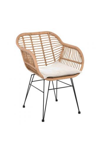 SALSA Πολυθρόνα/Εκρού μαξιλάρι Μεταλλική Μαύρη/Wicker Φυσικό