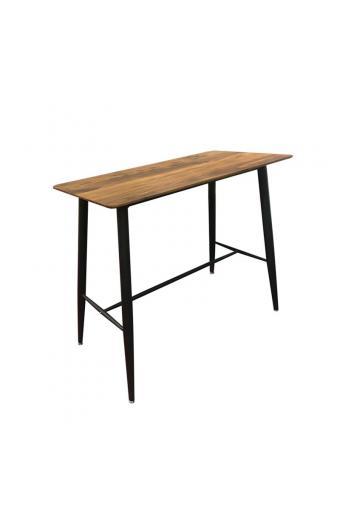 LAVIDA Τραπέζι BAR Μέταλλο Βαφή Μαύρο / Επιφάνεια Απόχρωση Antique Oak