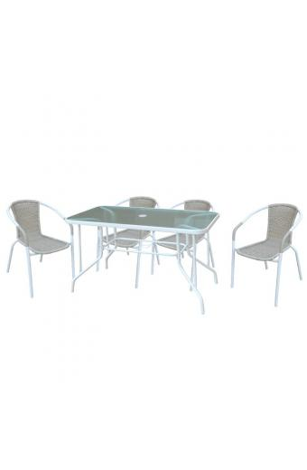 BALENO Set Τραπεζαρία Κήπου : Τραπέζι + 4 Πολυθρόνες Μέταλλο Άσπρο / Wicker Beige